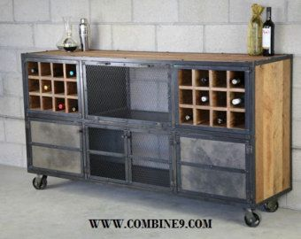 Industrial Liquor Cabinet Reclaimed wood Bar Cart. by leecowen