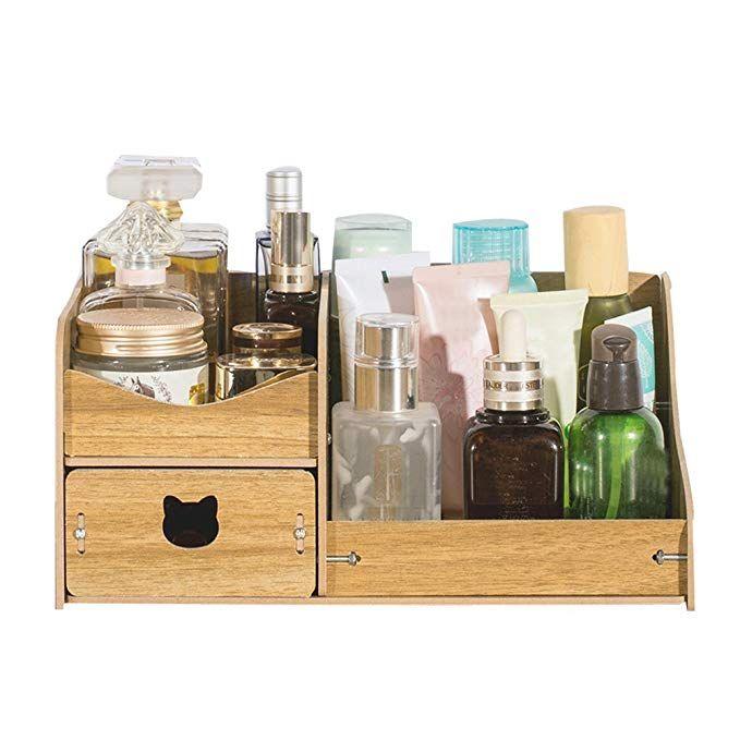 Rearand Diy Creative Multifunction Wooden Cosmetics Storage Box