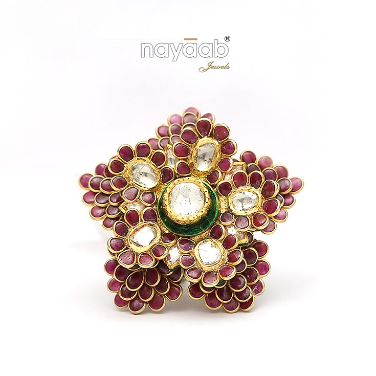 A rare period artistic #Meenkari and #Jadau #Kundan #Ring. #Nayaab #Exclusive #Rings #IndianWedding #pinkcity