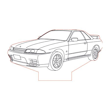 Nissan GTR R32 3d illusion lamp plan vector file (With