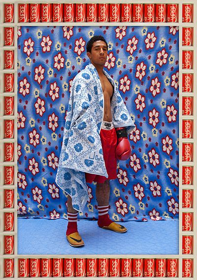 Credit: Hassan Hajjaj Zezo Tamsamani 2010 Metallic lambda print on dibond with wood and found objects frame