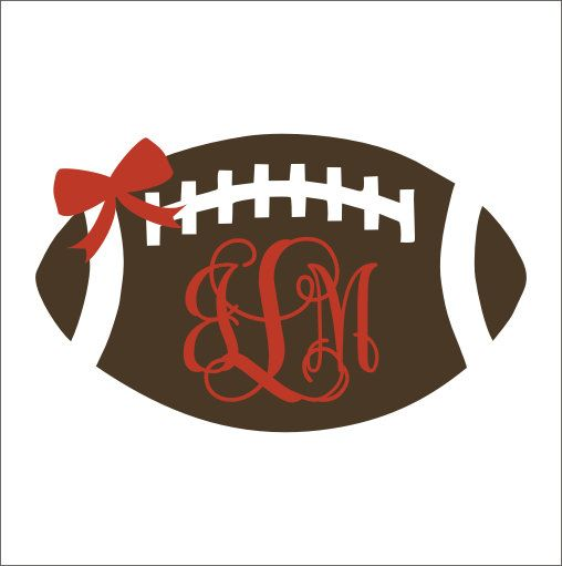 Football Monogram Decal with Bow Girly Car by CustomVinylbyBridge