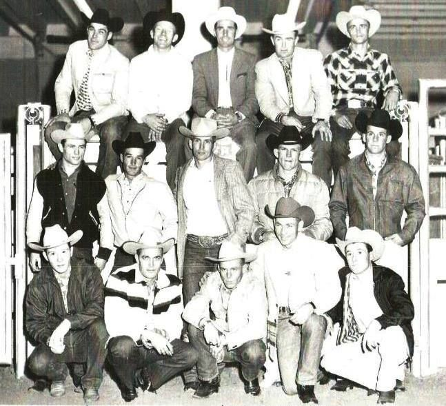❦ [Freckles Brown & Jim Shoulders!] rope-an-ole-blue-norther: The first National Finals Rodeo was held in 1959 in Dallas, Texas. These are the 15 Bull Riders who competed at that first NFR. Front row L-R: Duane Howard, Bill Rinestine, Bob Wegner, Freckles Brown, Bob Sheppard. Middle row L-R: Ed LeTourneau, Wayne Lewis, Jim Shoulders, Ronnie Rossen, Jim Charles. Back row L-R: Benny Reynolds, Bob Cullison, Harry Tompkins, Pete Crump, Joe Green.