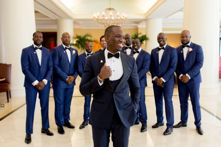 Luxury groom style: navy blue tuxedos (Unashamed Imaging)