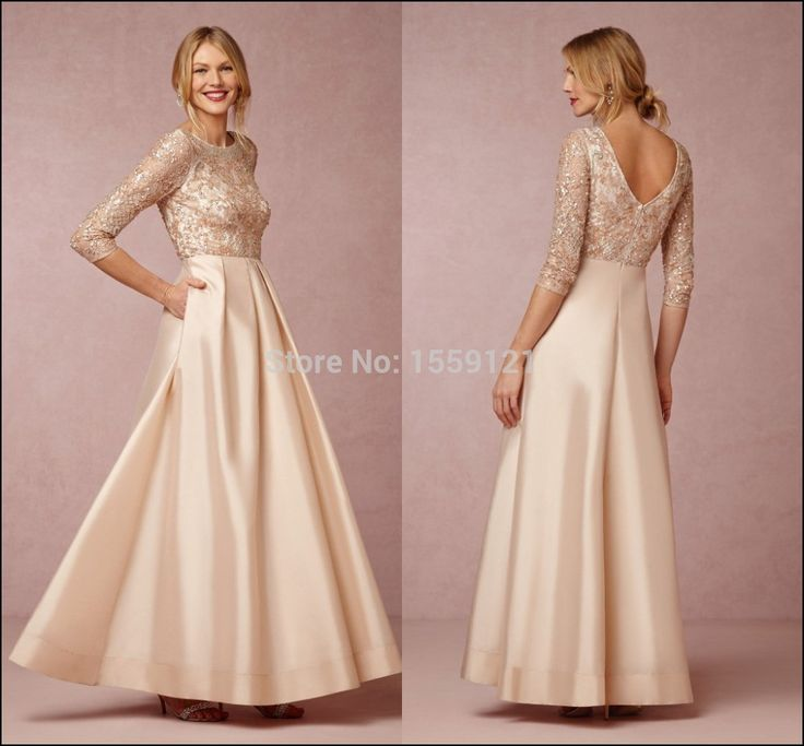 Gold evening Gowns with Sleeves
