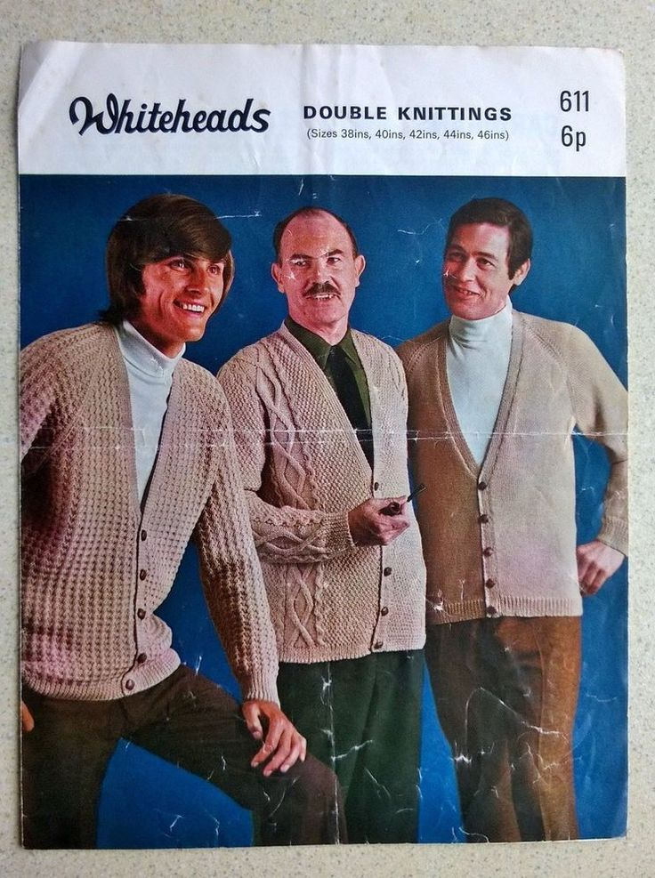 VINTAGE KNITTING PATTERN WHITEHEADS 611 DOUBLE KNITTINGS 3 MENS CARDIGANS