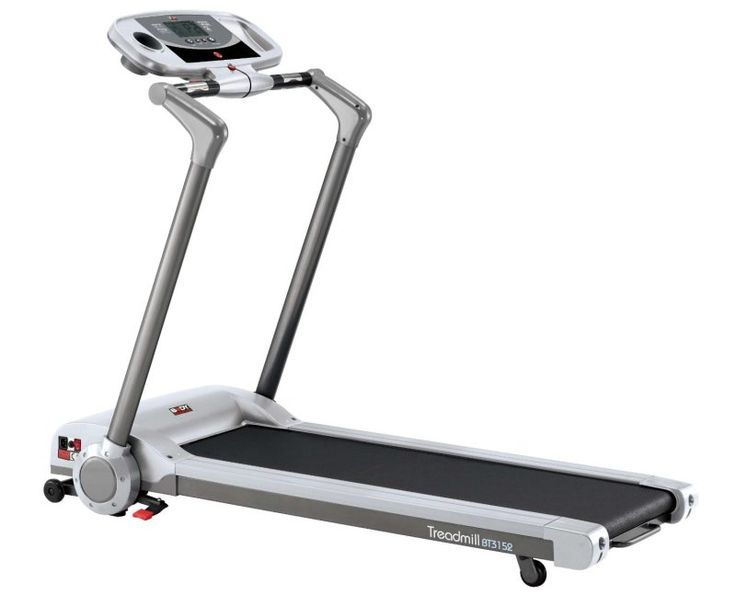 Body Sculpture BT3152 Motorised Treadmill ~~~ # 2.2hp peak motor # 0.5 to 8.75mph speed settings # 4 program including 3 pre-set and 1 manual # Folds at 90° for super compact storage # 2 level manual incline # Console with time, speed, distance, calories used and hand-pulse # Hand pulse sensors # Large cushioned running deck 125cm (L) x 40cm (W) #Treadmills #Cardio #Fitness