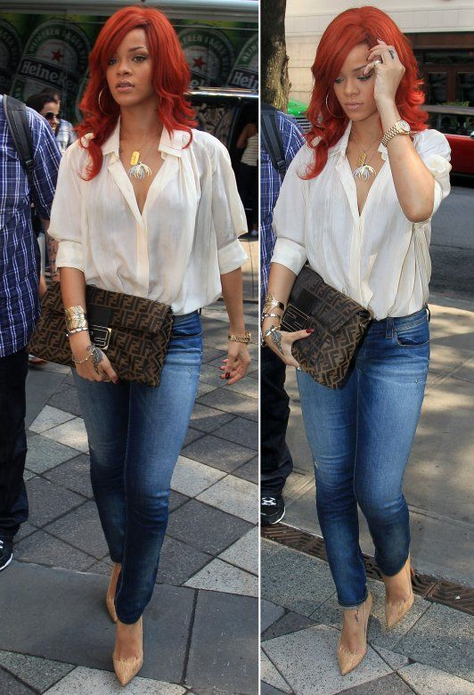 Rihanna Street Fashion Jeans And A Nude Heel With A Beautiful Off White Shirt Tucked In Fendi