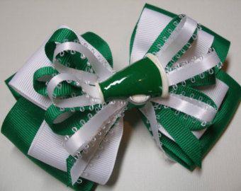Gran alegría megáfono arco verde esmeralda Kelly Boutique grande blanco niño niña animadora espíritu de equipo desgaste del pelo