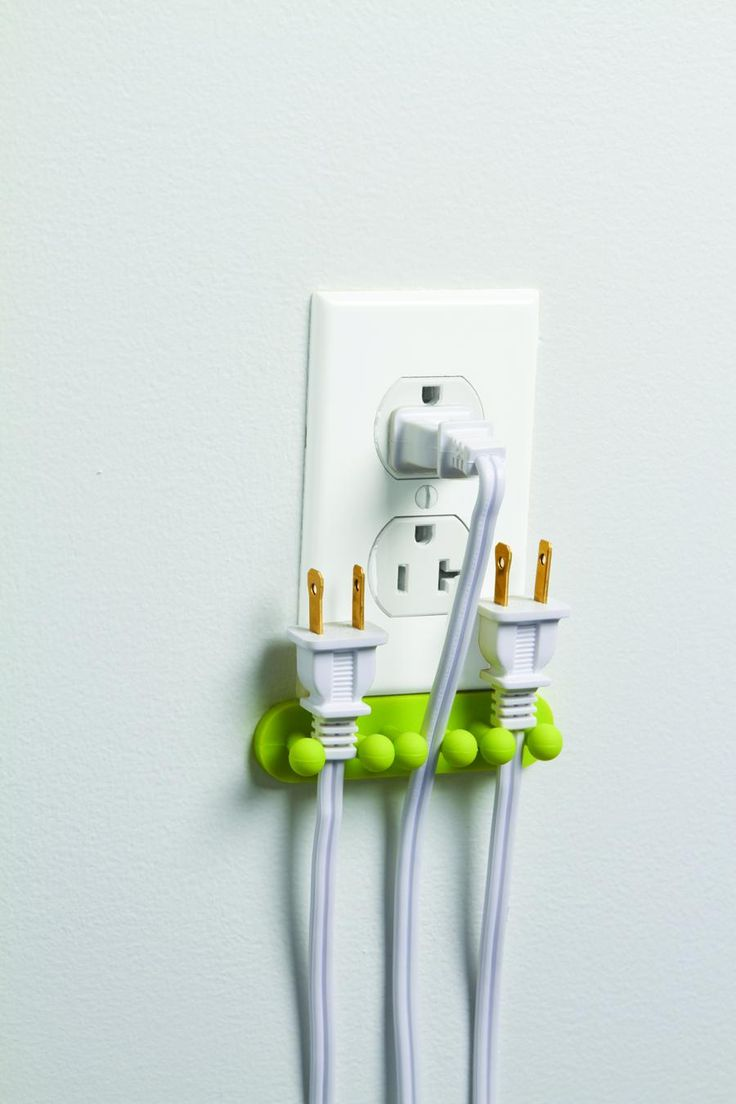 for places where you're always unplugging certain items: Cords Handy, Good Ideas, Outs Great Ideas, Cords Safe, Cords Outs Of Plugs, Cords Organizations, Plugs Organizations, Holders Keep Cords, Plugs Holders Keep