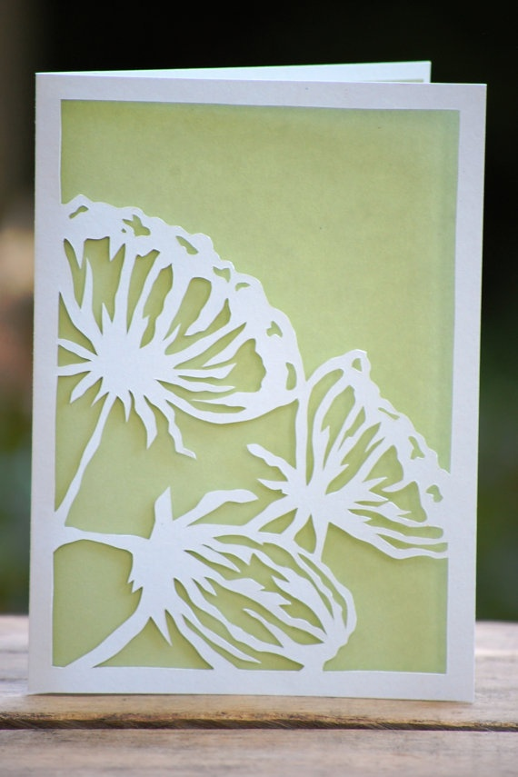 Items similar to Flower Silhouettes - Handmade Paper Cut Card on Etsy