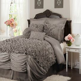 4 Piece Lucia Comforter Set in Gray