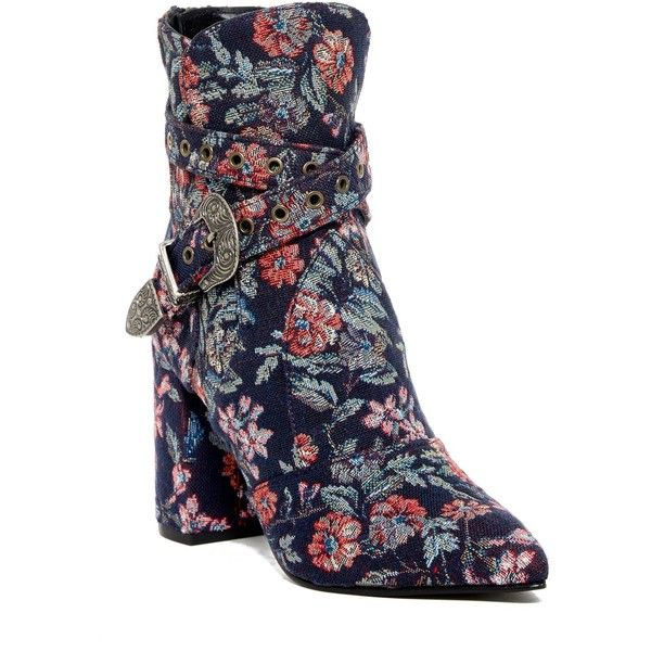 Badgley Mischka Morrisey Bootie (2.661.600 IDR) ❤ liked on Polyvore featuring shoes, boots, ankle booties, navy fabri, navy bootie, pointed toe booties, navy blue ankle boots, navy blue bootie and ankle boots