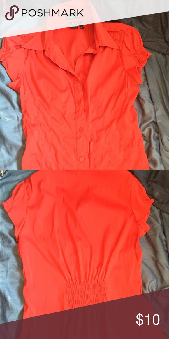 Red button up shirt Juniors size small. Stretchy material Cotton express Tops Button Down Shirts