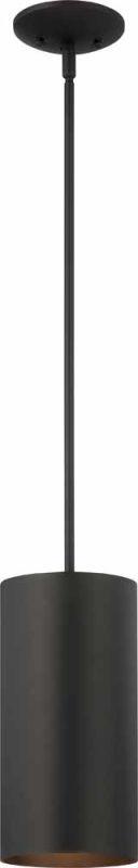 "Volume Lighting V9606 1 Light Outdoor 12"" Height Pendant with Metal Cylinder Sha Black Outdoor Lighting Pendants"