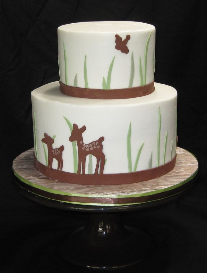 Buttercream With Fondant Accents Woodland Bambi