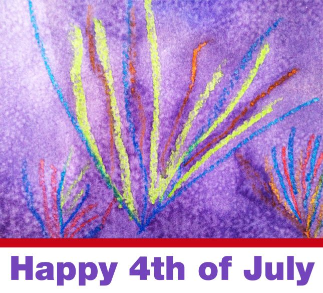 4th of July Fireworks (crayons and watercolors - wax resist), summer art project for kids by arTree