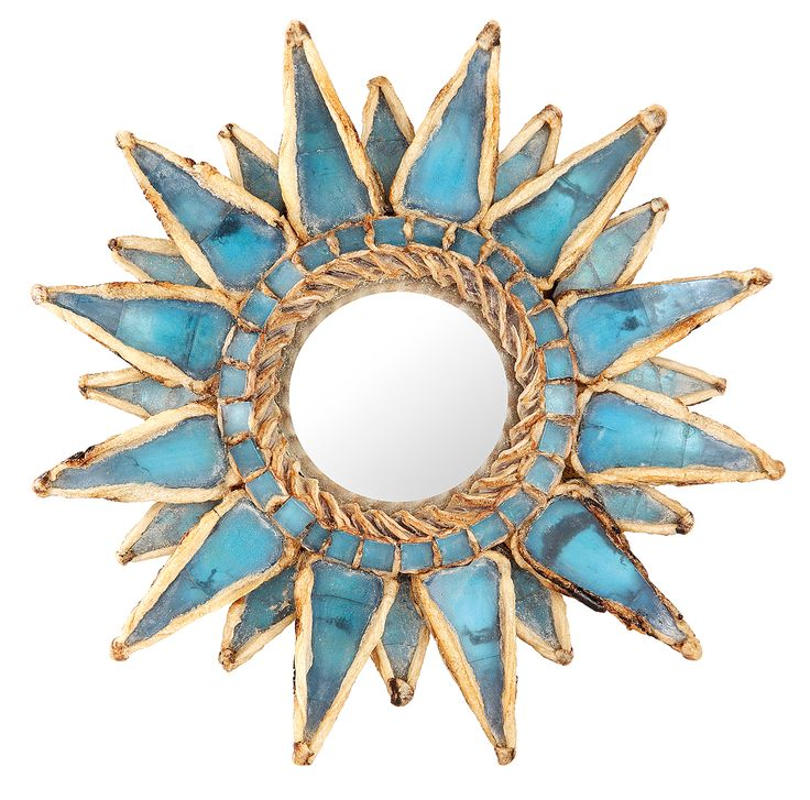 Line Vautrin mirror. Beige talosel resin incised and encrusted with turquoise stained glass. 12.5 cm in diameter.