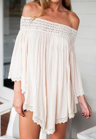 boho apricot dress, off the shoulder dress, loose panelled dress - Crystalline