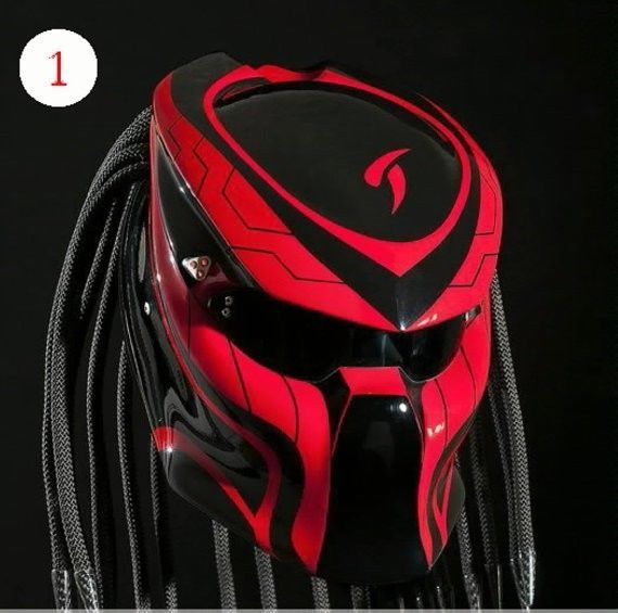 Alien Predator Motorcycle Helmet Street Fighter - Red with Black #CellosPredatorHelmetCustomHandmade