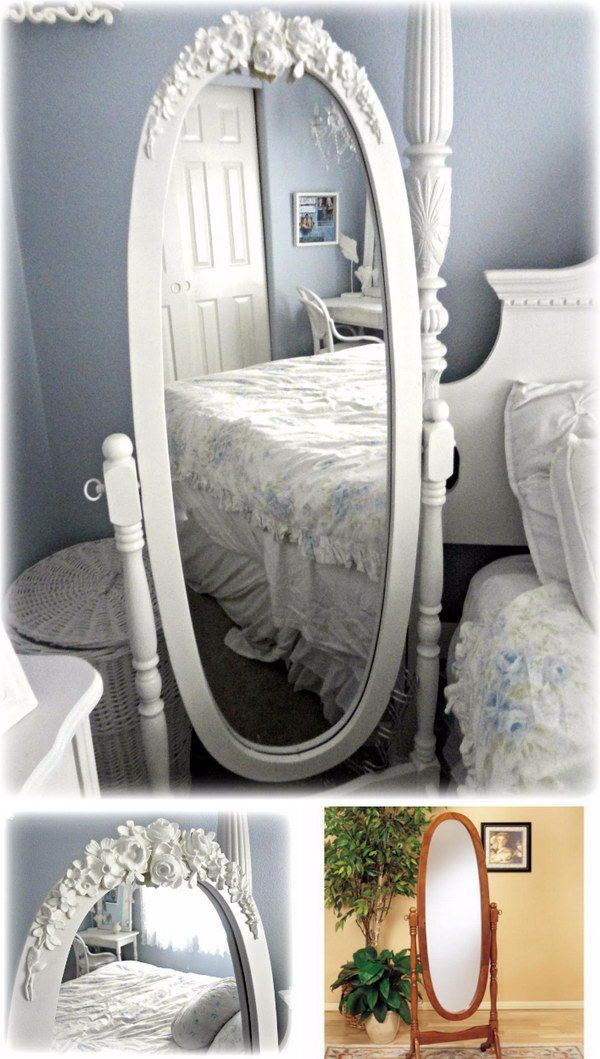 Easy Shabby Chic Mirror Makeover Using Appliques and Paint