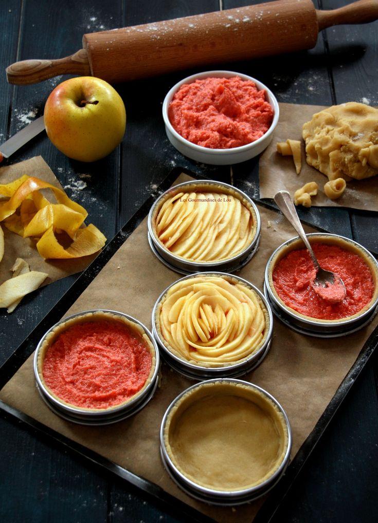 Préparation tartelettes aux pommes crème d'amande aux pralines roses