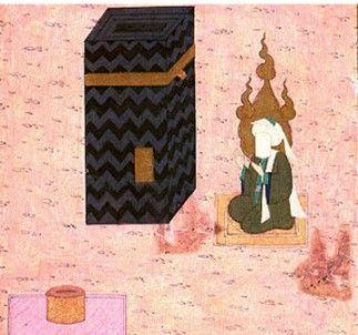 메카의 카바 신전에 앉아있는 예언자 무함마드. 카바 신전은 이슬람 이전 시대에 다신교도의 총본산이었다.