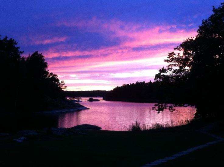Pink sky. Midsummer.
