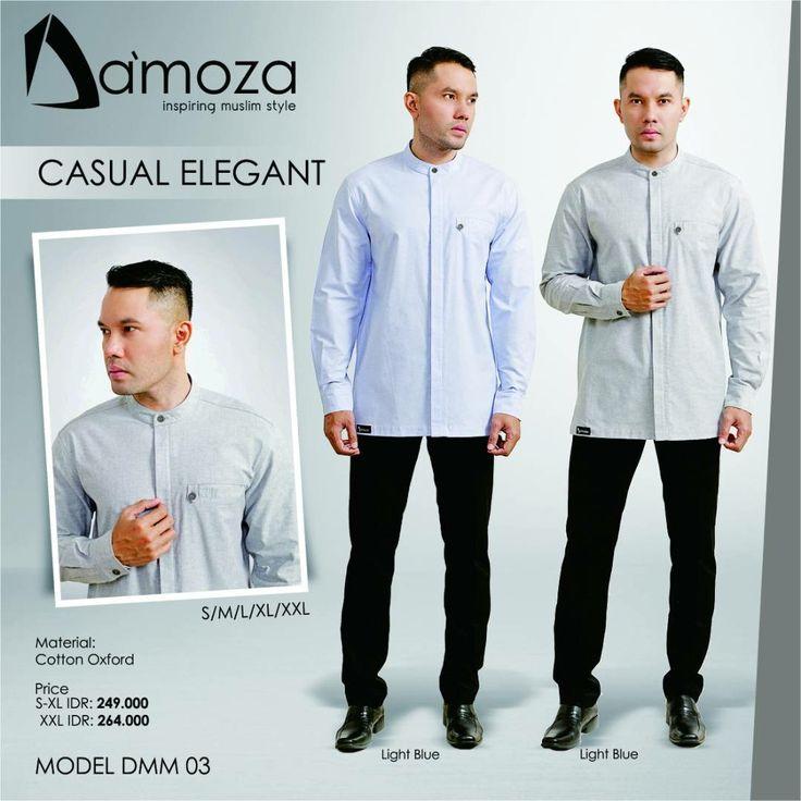"""New Model"" Koko Damoza - DMM 03 Koko Muslim Dewasa Lengan Panjang Persembahan Damoza dengan bahan Cotton Oxfort Tebal, halus, lembut dan adem, Tersedia 2 pilihan kombinasi warna:  1. Light Gray 2. Light Blue"