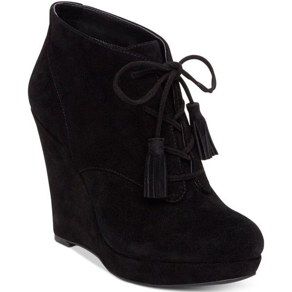 Jessica Simpson Cyntia Lace-Up Wedge Booties (4,630 DOP) ❤ liked on Polyvore featuring shoes, boots, ankle booties, black, black boots, lace up boots, lace up booties, black lace up boots and black booties