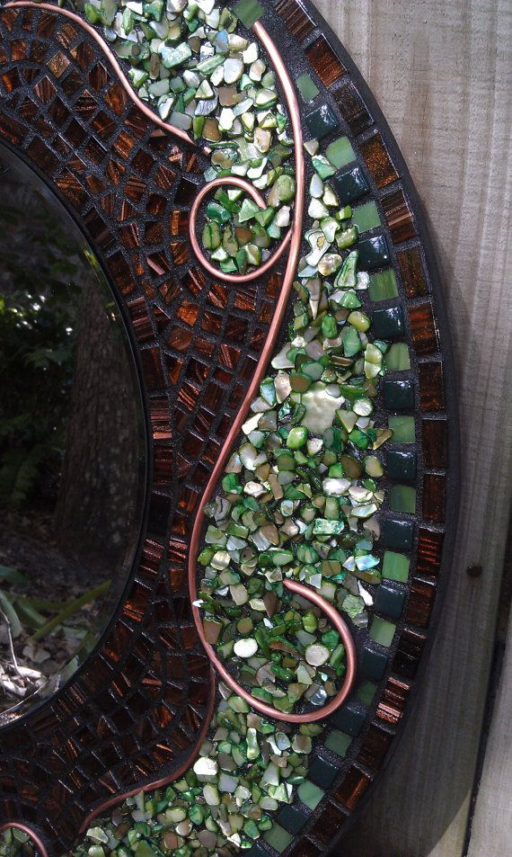 Large Green Mosaic Mirror - Beautiful Round Mosaic Art Mirror with Stained Glass, Shell, Ceramic Tile and Copper Wire Design - Picmia