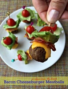Perfect appetizers - meatballs stacked with all of the ingredients for a deluxe bacon cheeseburger!