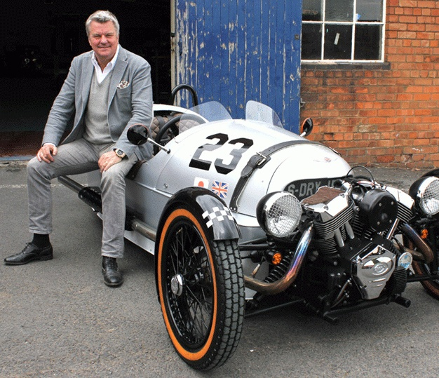 Charles Morgan with the limited edition SuperDry Morgan 3-wheeler. Heading from NY to West Coast this week in the Gumball 3000.
