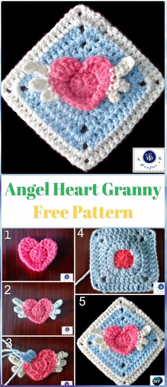 Crochet Angel Heart Granny Square Free Pattern - Crochet Heart Square Free Patterns