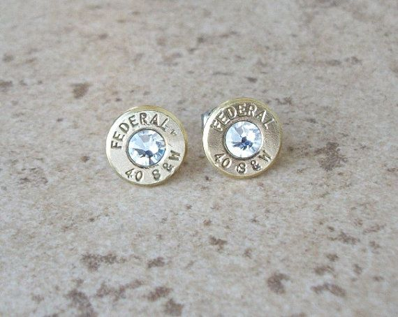 Federal 40 S&W Bullet Stud Earring, Clear/Diamond Swarovski Crystal, Surgical Steel Post - 248
