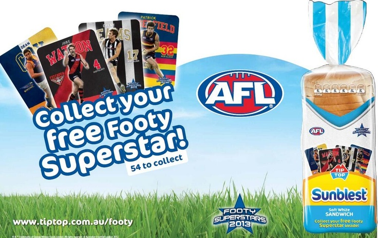Collect your free footy Superstar with Tip Top Sunblest!