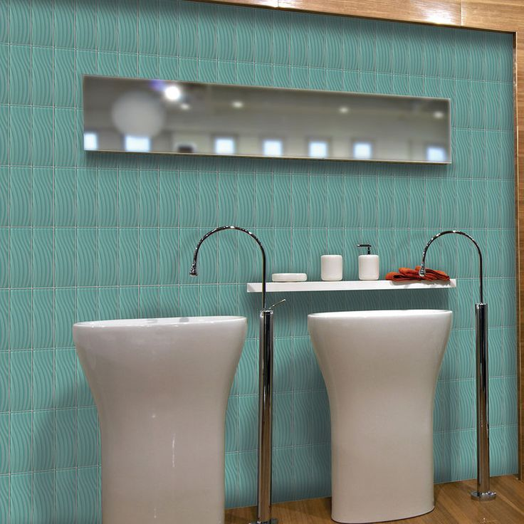 Wavy Tile Bathroom: Abstracts Fountain Blue C108 In 4 X 12 Wavy Glass Tile On