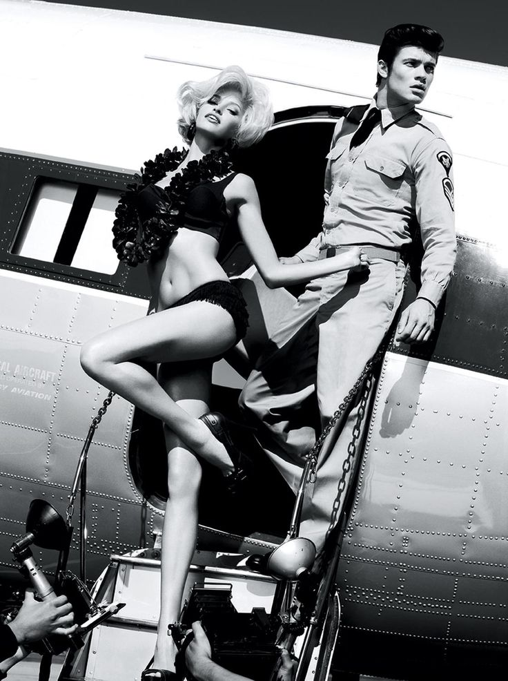 Shot in black and white by Alix Malka, the Guess campaign backdrop is a historic aviation center and residence in Malibu and was inspired by Hollywood's Golden Age—and the inimitable stylings of women like Eva Gardner and Sophia Loren.