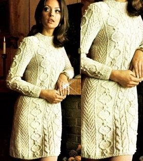 Knitted Aran Sweater Dress white dress by GrandmaHadItGoinOn