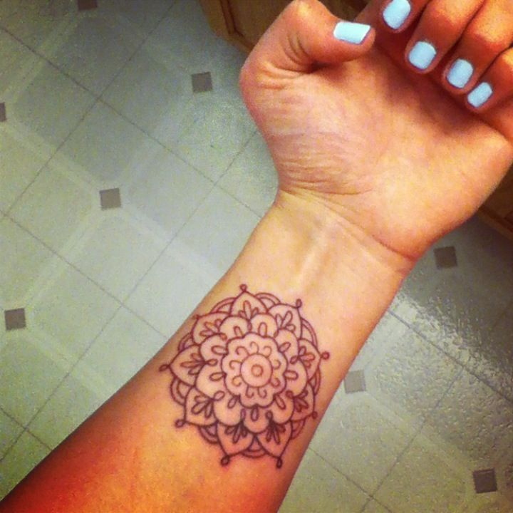 Crown Chakra Henna Tattoo On Wrist Thousand Petal Lotus Flower