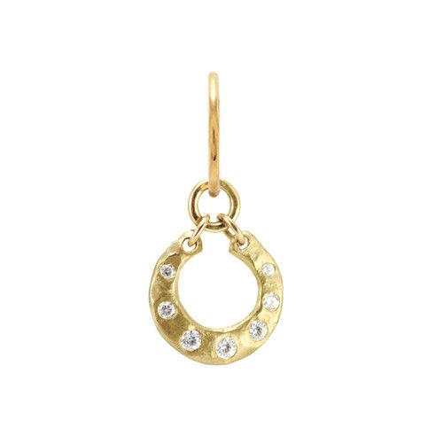 Gold Crescent Earring with Stones from Brevard