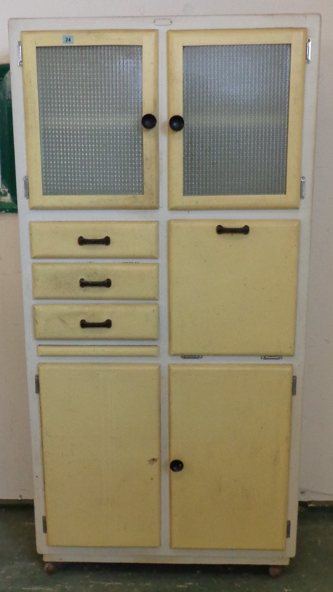 Lot 24 Painted Pine Kitchen Cabinet With Opaque Gl Doors Fall Small Drawers Pull Out Slide Working Surface Pair Cupboard