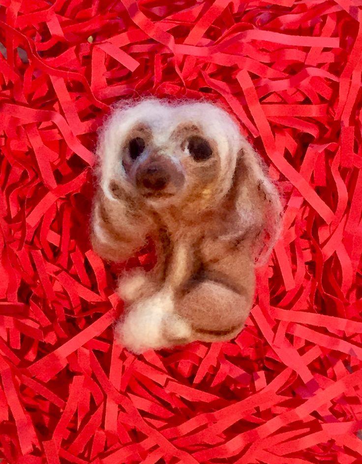 Китайская хохлатая, собака, брошь, валяние, фелтинг, brooch,dog, felting