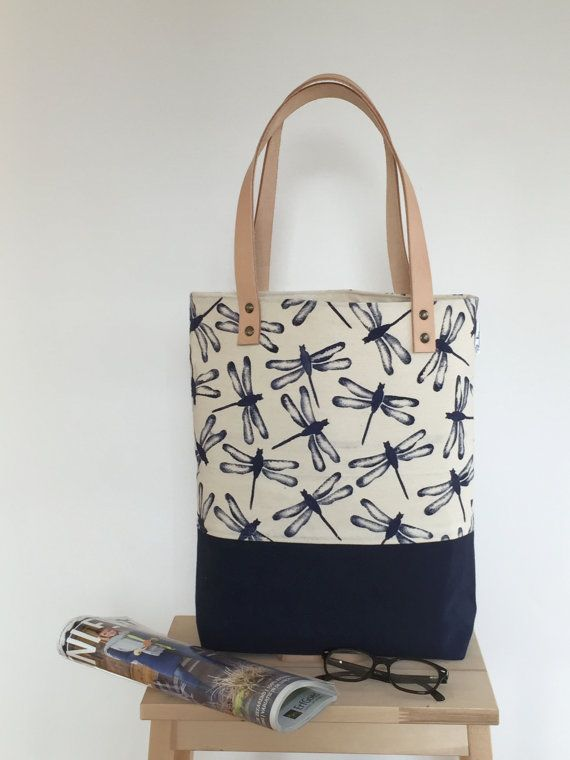 handbag canvas tote bag shoulder bag by PaulineGreuell on Etsy