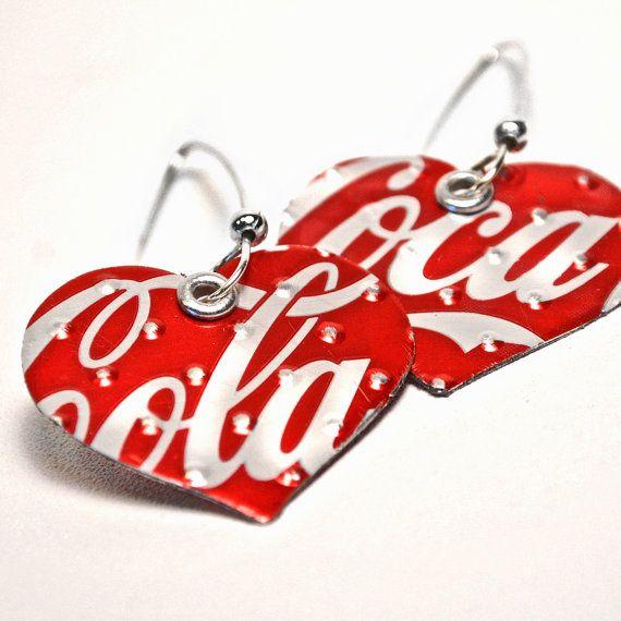 Orecchini a cuore Coca Cola gioielli riciclati di wearwolf su Etsy
