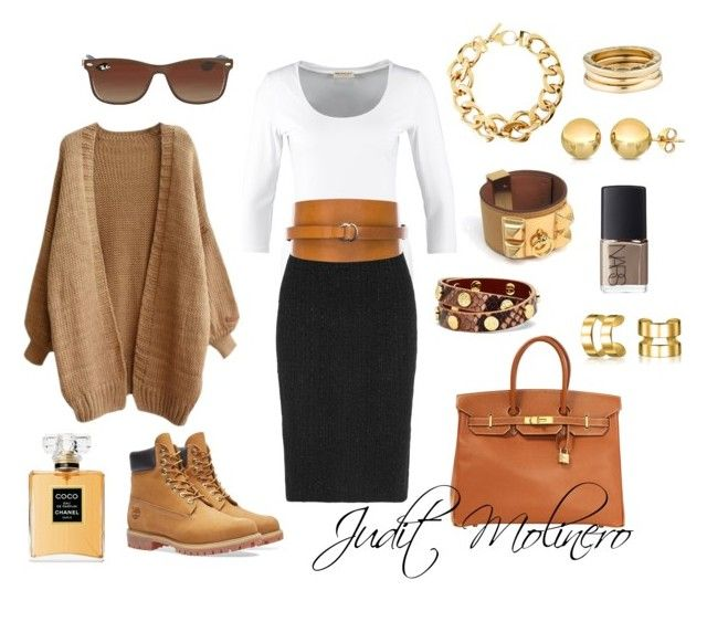 """""""Pencil brown"""" by judith-molinero-fashion on Polyvore featuring Timberland, Repeat, Alexander McQueen, Isabel Marant, Pluma, Tory Burch, Hermès, Ray-Ban, Bling Jewelry and NARS Cosmetics"""