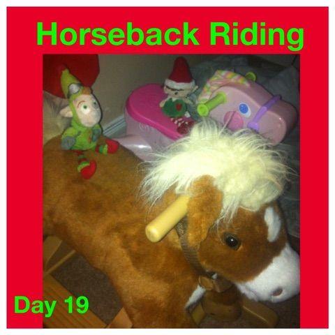 Elf on the shelf ideas horseback riding