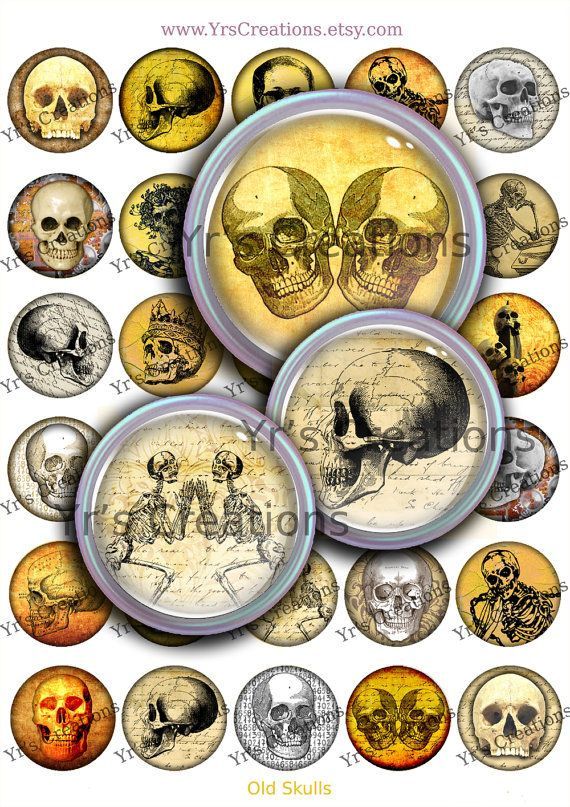 1.5 Inch Circles - Old Skulls - Digital Collage Sheet - Instant Download - Images for Pendants, Stickers, Halloween, Mixed Media and Art