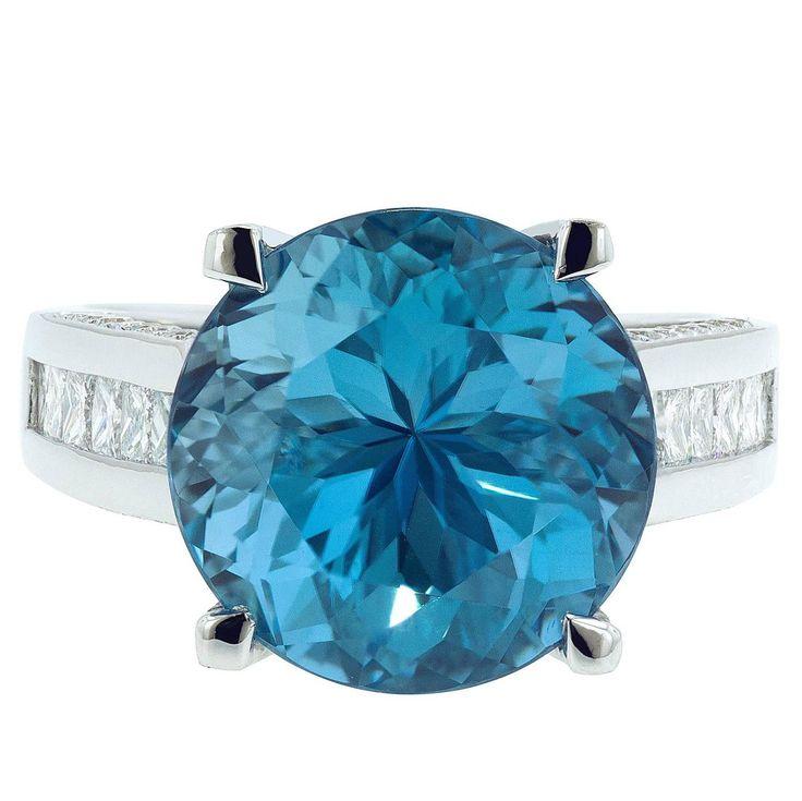 11.94 Carat London Blue Topaz Diamond Cocktail Ring