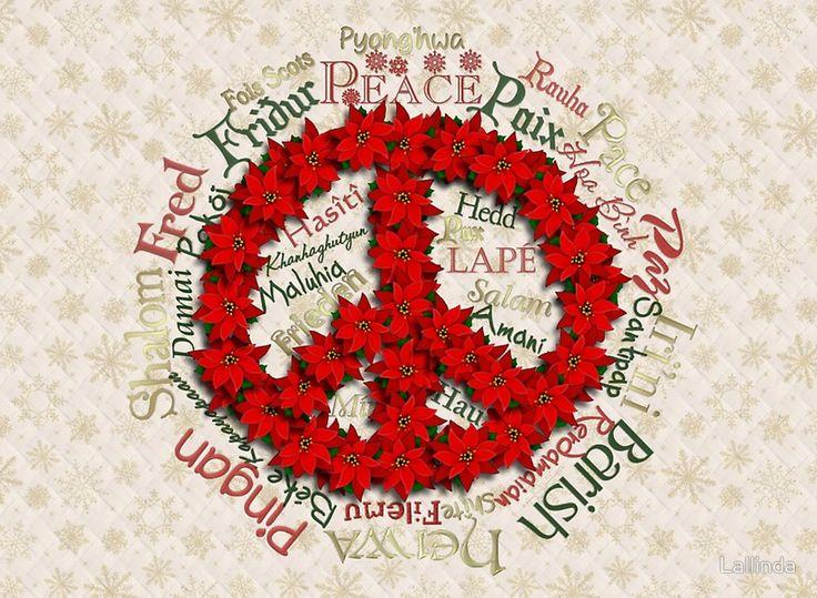 Peace Christmas Poinsettia Wreath